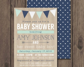 BABY BOY SHOWER Invitation, Rustic Baby Shower Invitations, Printable Invitation 5x7, Mint & Navy