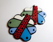Modern Hand Painted Modern Striped Red and Blue Nimbus and Raindrop Earrings
