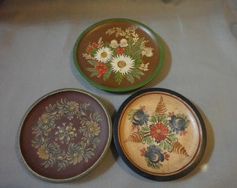 German Hand Painted Wooden Plates-set of three