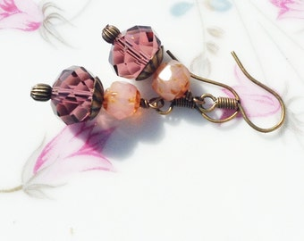 Beaded Earrings - Purple and Pink