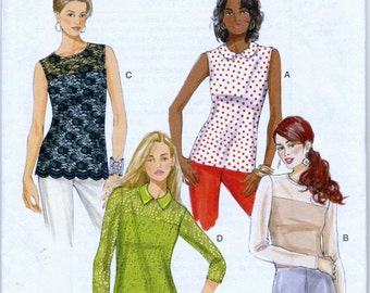 Misses; Close Fitting Pullover Top in Four Views Sewing Pattern - Butterick 5922 - Sizes 6-8-10-12-14) Uncut