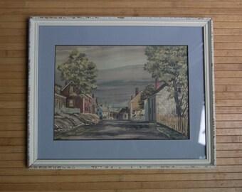 Mid Century Framed Seaside Street Scene WaterColor Painting - Cheerful - Ocean Scene - Summertime
