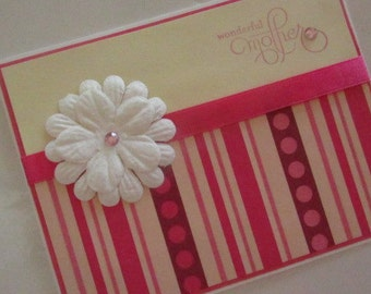 pretty Mothers Day card in pink and cream, Wonderful Mother