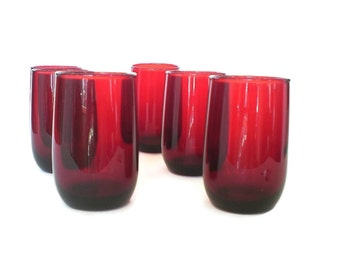 Royal Ruby Red Glasses Christmas Red Holiday Glassware Red Glass Roly Poly Juice Glasses Anchor Hocking