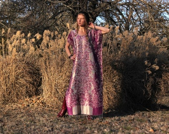Silk & Cashmere Gypsy Boho Kaftan Maxi Dress Fringe Indian Bohemain Hippie One Size Metallic Lightweight Custom Length