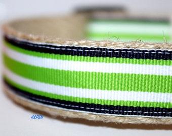 Green and Navy Dog Collar, Preppy Dog Collar, Navy Stripe Dog Collar