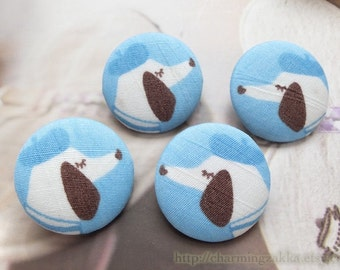 Fabric Covered Buttons (L) - Chic French Paris Nautical Summer Sailor Blue Stripe Gentleman Hat Dachshund Dog(4Pcs, 0.98 Inch)