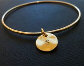 Gold initial bangle bracelet, personalized jewelry, simple initial bracelet, thin stackable bangle