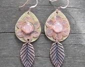 Native American Inspired  Rose Quartz Mixed Metal Earrings