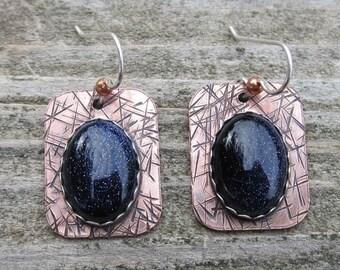 Native American Inspired Blue Goldstone Mixed Metal Earrings