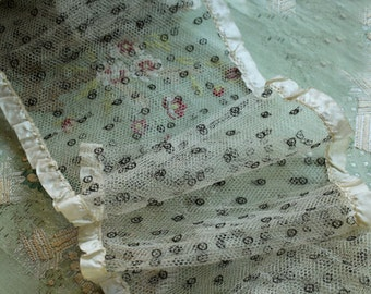 1/2 yard Antique fabulous silk dotted tulle ribbonwork satin edge trim wide sheer lace millinery flapper hats dolls