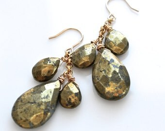 LP 1232 Lusterous, Golden Metallic Pyrite Teardrop Earrings