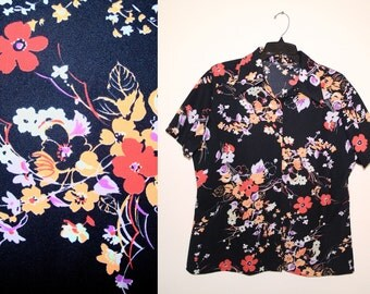 70s Black Floral Print Short Sleeve Button Down Blouse Retro Kitsch Hipster Plus Size XL