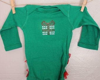 READY TO SHIP baby girls christmas oneise Newborn Green with Ruffles Christmas onesie with present rhinestone embellishment