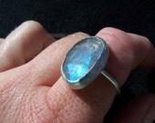 Rose cut labradorite ring: made to order