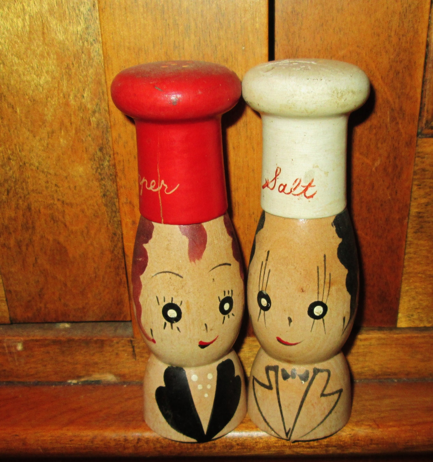 Rare Unique Rustic Wooden Salt And Pepper Shakers Chief A