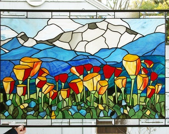 """Mountain Scenic California Poppies 41"""" x 26.75""""- Stained Glass Window Panel"""