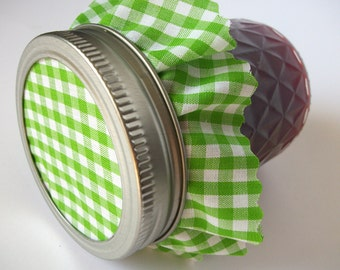 12 Green Gingham Jam Jar Covers, Cloth Toppers fabric for mason jars, mason canning jar covers, food preservation, holiday, shower jar favor