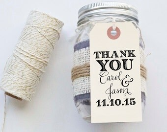 Thank You Gift Tags Wedding Favor Tags Shower Favor Vintage Wedding Custom Personalized Calligraphy Stamp
