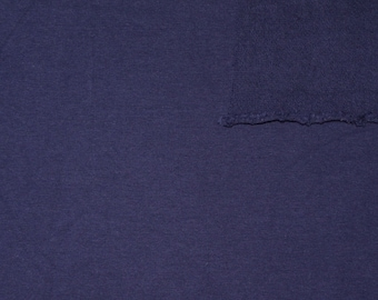 Solid Navy Blue 4 Way Stretch French Terry Knit Fabric With Spandex, 1 Yard