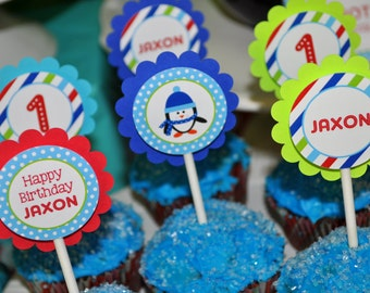Penguin Cupcake Toppers - Winter Onederland Birthday Party Decorations - Boy Penguin Birthday Party - Set of 12