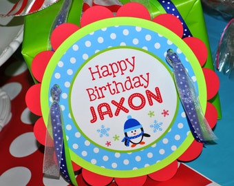 Boys Penguin Birthday Party - Penguin Birthday Door Sign - Winter Onederland Birthday Party Decorations