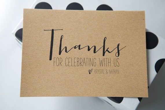 Personalised THANK YOU cards | Modern, Calligraphy, Minimalist, Modern, Typography | Wedding, Engagement, Party