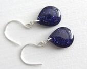 purple glitter earrings on sterling silver earwires, 1.25 inches long,