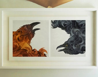 Crows Diptych - Archival Giclee Print by Eoin Ryan