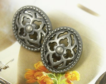 Metal Buttons - Flower Lattice Oval Metal Buttons , Nickel Silver Color , Shank , 0.71 inch , 10 pcs