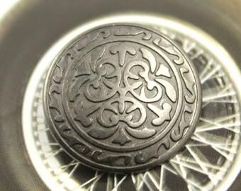 Metal Buttons - Celtic Flower Metal Buttons , Gunmetal Color , Shank , 0.71 inch , 10 pcs