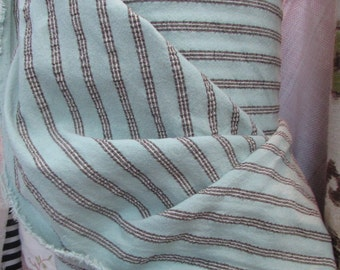 FRENCH COUNTRY in aqua blue base and brown stripes multipurpose fabric