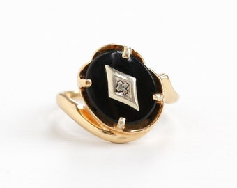 Sale - Vintage 10k Yellow Gold Black Onyx & Diamond Ring - Retro 1950s 1960s Size 5 3/4 Oval Black Stone Statement Fine Jewelry