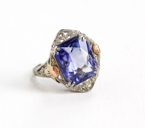 sale antique 14k white gold created sapphire ring size 6