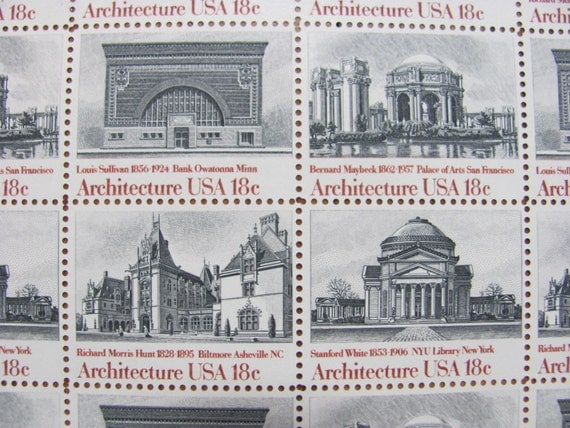 Unused vintage us postage stamps full sheet of 40 by for New york state architect stamp