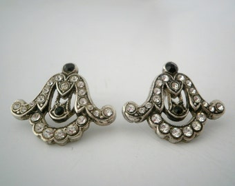Vintage Sterling Siver Stud Earring with Rhinestones