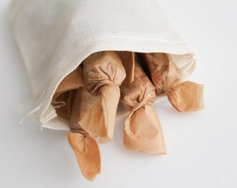 Edible Gift Treat and Snack - Handmade Fleur de Sel Caramels 1/4 lb in Eco Reusable Muslin Bag