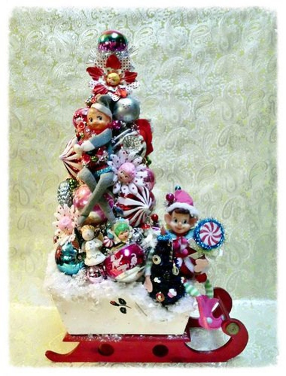 SOLD - Contact Me for a Custom Order Similar to this One - Elf on the Shelf Bottle Brush Tree Vintage Christmas Ornaments Sleigh