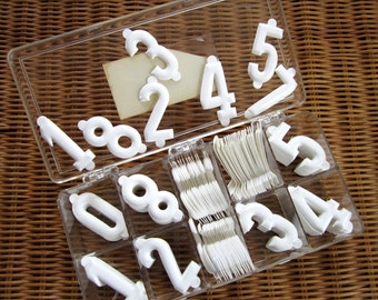 """Vintage NIB 1.50"""" White Molded Deli Tag Insert Numbers 201 Numbers in All"""