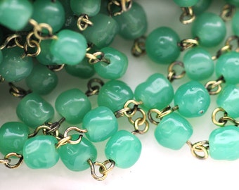 VINTAGE 6mm Beaded Chain with 6mm Green Jade Baroque Glass Beads and Antiqued Gold Plating, (B1-R1-C4), Sold by the Linear Foot