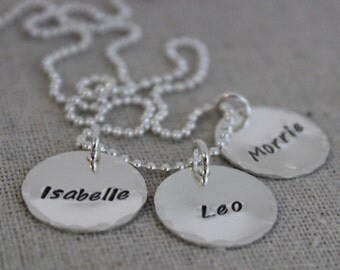 push present, mothers necklace, mommy jewelry, kids names necklace, hand stamped sterling silver name discs, name tag necklace, 3 names