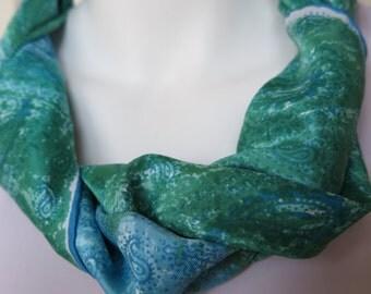 SALE - Blue Green Scarf Vera Vintage Paisley