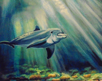 Dolphin underwater seabed oil painting