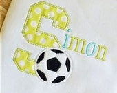 Monogram Soccer Ball Shirt or Onesie * Custom Appliqué * Personalized Embroidery