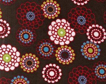 SALE - Fabric 1/2 yard - Corduroy Flowers in Brown Robert Kaufman designer blooms colorful cords blue red green white