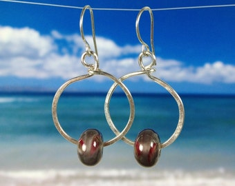Red Gray handmade glass bead fine silver hoop earrings