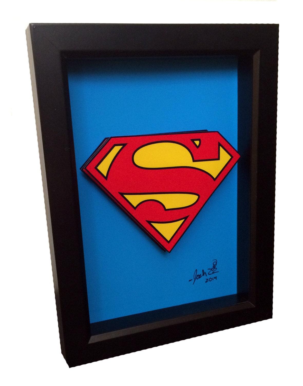 superman symbol 3d pop art comic book artwork man of steel. Black Bedroom Furniture Sets. Home Design Ideas