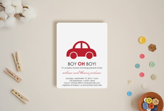 Shower Invitations - Boy oh Boy - Choose Your Colors