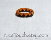 SPRING SALE!!! Free Shipping or Save 20% ~ Jack o' Lantern orange and black woven peyote beaded ring ~ Made to Order