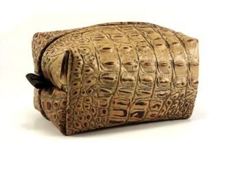 Small Leather Dopp Kit Bag, Alligator Embossed Leather